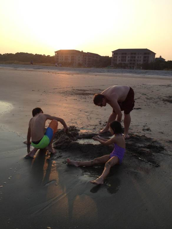 Phickles Kids and Phickles Hubby ....sunset on Hilton Head Island