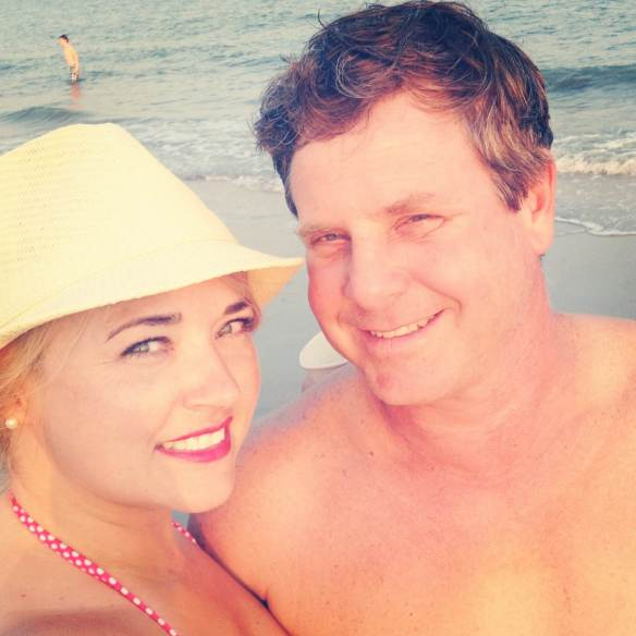 Mama Phickle and Daddy Phickle ...happy on the beach at sunset after a long day of pickle deliveries. :)